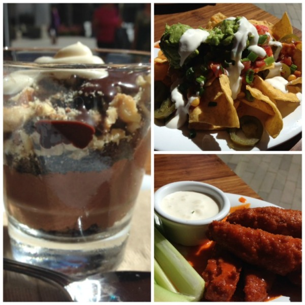 Veggie Grill Pudding, Nachos and Wings