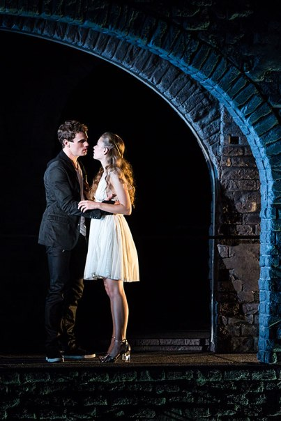 Photo Courtesy of the Old Globe. Jay Armstrong Johnson as Romeo and Talisa Friedman as Juliet in The Last Goodbye, a new musical fusing Shakespeare's Romeo and Juliet with the songs of rock icon Jeff Buckley, Sept. 22 - Nov. 3, 2013 at The Old Globe. The Last Goodbye is conceived and adapted by Michael Kimmel, with music and lyrics by Jeff Buckley, orchestrations, music direction and arrangements by Kris Kukul, choreography by Sonya Tayeh and direction by Alex Timbers. Photo by Matthew Murphy.