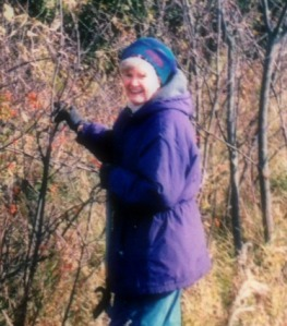 Aunt Nancy when she was about 85. She had just made us pull over when we were driving so she could look at plants growing on the side of the road.